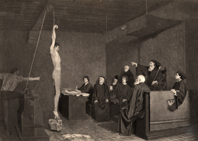 A fifteenth century tribunal using ropes to elicit a confession in this engraving from a painting by A. Steinheil. This method of torture is still in common use today.