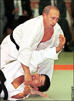Vladimir Putin doing Judo