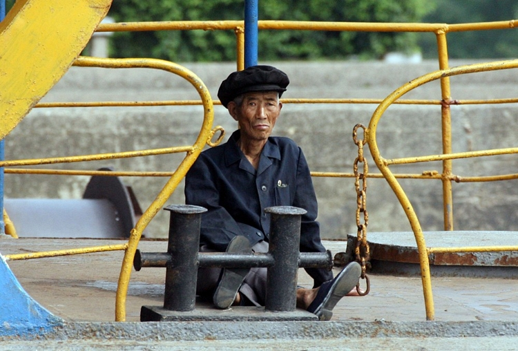 An elderly North Korean man